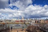 St Paul's Cathedral and Millennium Bridge in London — Photo
