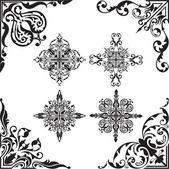 Baroque set of corners — Stock Vector