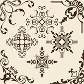 Rococo corner elements — Stock Vector