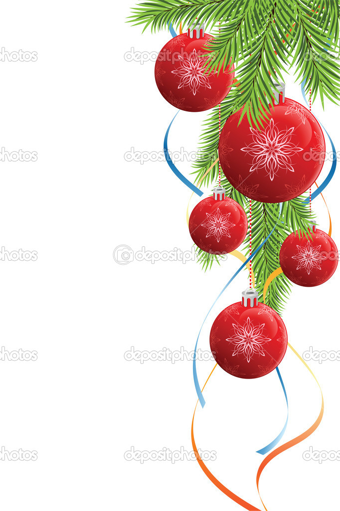 Abstract Christmas decoration with fir tree baubles and ribbons — Stock Vector #12008320