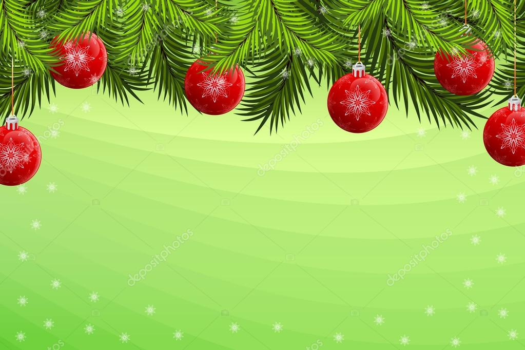 Christmas background with baubles firtree and snowflakes — Stock Vector #12008344