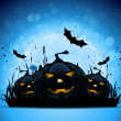 Halloween Background with Pumpkins and Moon - Stock Vector