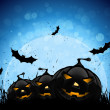 Halloween Party Background with Pumpkins and Moon — Stock Vector #12218752