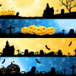 Stock Vector: Four Halloween Banners