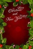 Mutlu noeller ve mutlu yeni yıl kartı — Stok Vektör