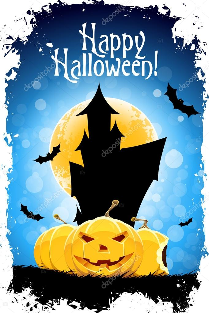 "Abstract Blue Halloween Card with Message ""Happy Halloween!"" — Stock Vector #12741291"