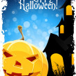 Stock Vector: Grungy Halloween Background with Pumpkin