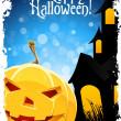 Grungy Halloween Background with Pumpkin — Stock Vector