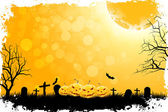 Grungy Halloween Background with Pumpkins — Stock Vector