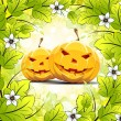 Stock Vector: Halloween Pumpkins with Leaves