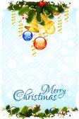 Grungy kerstkaart met decoraties — Stockvector