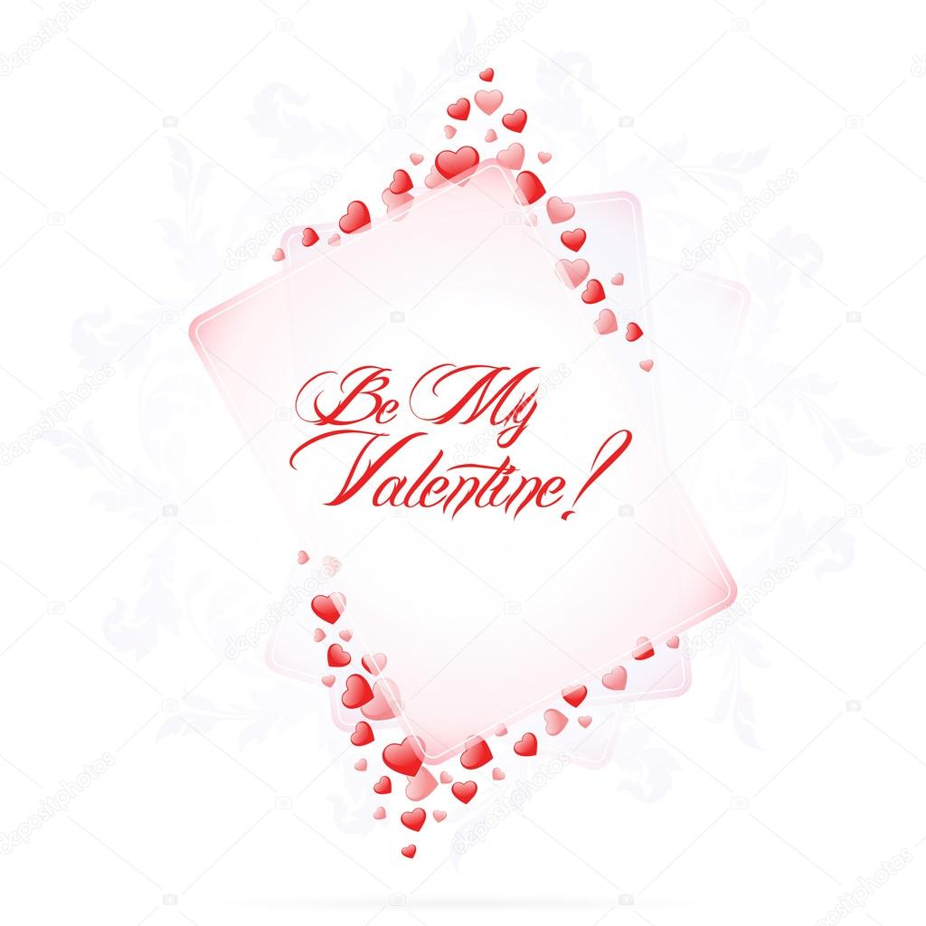  Calligraphic Valentine's Card with Be My Valentine  Stock Vector #17214475