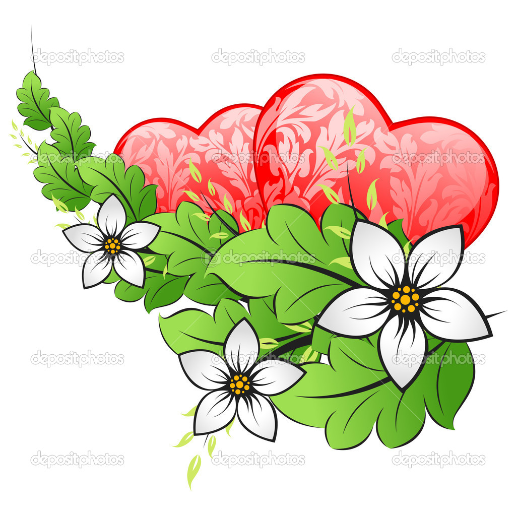 Valentines Day Card with Hearts and Flowers Isolated on White Vector Background  Stock Vector #17214477