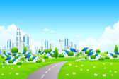 Green Landscape with City and Small Villarge — Stock Vector