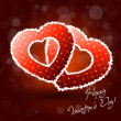 Stok Vektör: Illustration of Pair of Valentine Heart on Abstract Background