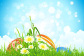 Easter Eggs inthe Grass — Stock Vector