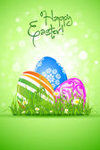 Easter Eggs in the Grass — Stock Vector
