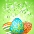 Easter Background with Decorated Eggs — Stock Vector