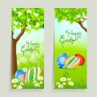 Set of Easter Cards with Grass and Tree - Stock Vector
