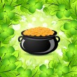 St. Patricks Day Cauldron with Gold Coins — Stock Vector