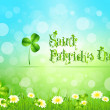 Stock Vector: Saint Patricks Day with Flowers and Shamrock