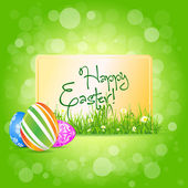 Easter Card with Grass and Decorated Eggs — Stock Vector