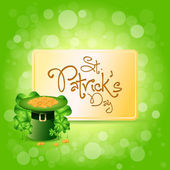 St. Patricks Day Card with Leprechaun Hat — Stock Vector