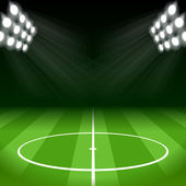 Soccer Background with Bright Spot Lights — Stock Vector