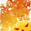 Stock Vector: Halloween Background with Pumpkin