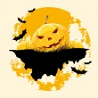 Grungy Halloween background with pumpkins and bats — Stock Vector #33301133