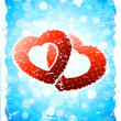 Valentine's Day Background with Torn Hearts — Stock Vector