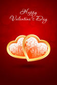 Valentine's Day Background with Floral Hearts — Stock vektor