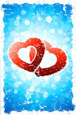 Valentine's Day Background with Torn Hearts — Vector de stock