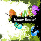 Grungy Easter Background with Decorated Eggs — Stock Vector