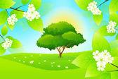 Grönt landskap med blommor — Stockvektor