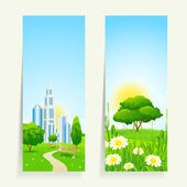 Two Vertical Banners with Nature — Stock Vector