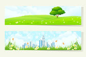 Two Horizontal Banners with Nature and City — Stock Vector