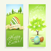 Set of Easter Cards with Decorated Eggs — Stock Vector