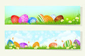 Set of Easter Cards with Decorated Eggs — Stockvector