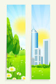 Two Vertical Banners with Nature and City — Stock Vector