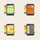 Set of flat  interface concept for web and mobile phone services — Vector de stock