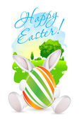 Easter Card with Landscape, Rabbit and Decorated Eggs — Stockvektor
