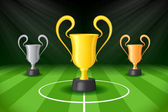 Soccer Background with Three Award Trophy — Stock Vector