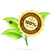 Premium Quality Label with Leaves — Stock Vector