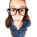 chica nerd confundido — Foto de Stock