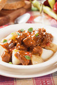Beef stew or goulash with potato — Foto de Stock