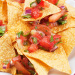 Mexican nachos corn chips with salsa — Stock Photo