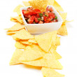 Mexican nachos corn chips with salsa - Stock Photo