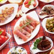 Foto Stock: Table full of appetizers