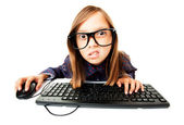 Girl working on a computer — Stock Photo
